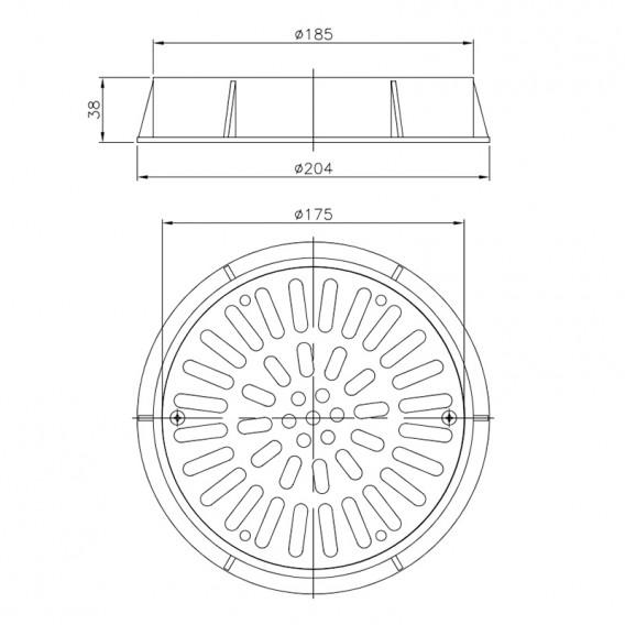 Dimensiones reja drenaje Ø 200 mm acero inox AstralPool