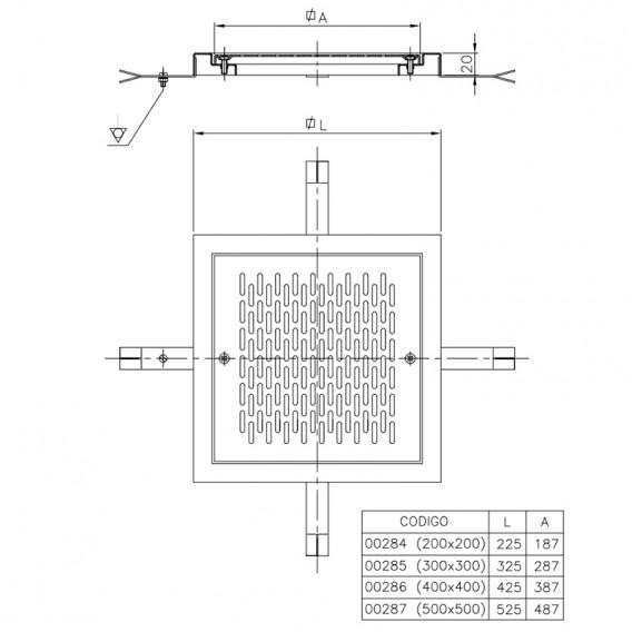 Dimensiones reja de desagüe en acero inox AstralPool