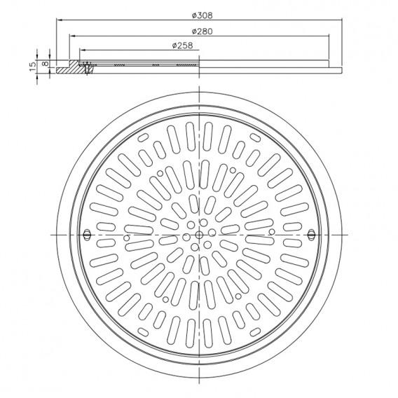 Dimensiones reja de drenaje Ø 300 mm en acero inox AstralPool