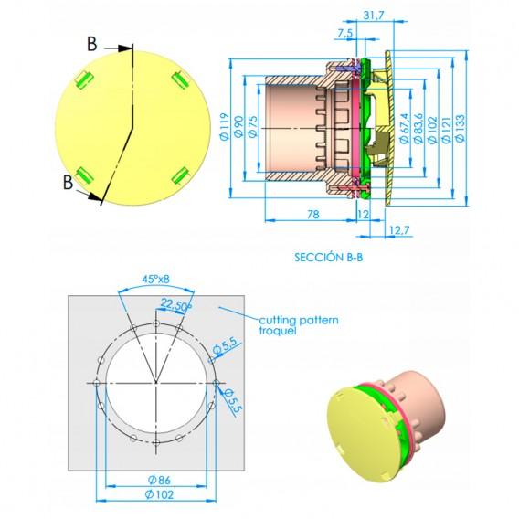 Dimensiones boquilla aspiración rebosadero liner AstralPool