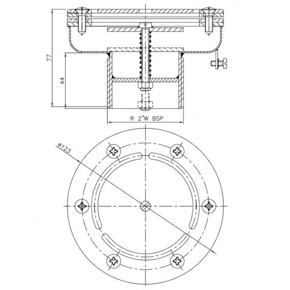 Dimensiones boquilla impulsión regulable de fondo inox AstralPool