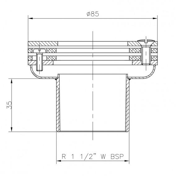 Dimensiones boquilla aspiración piscina liner AstralPool