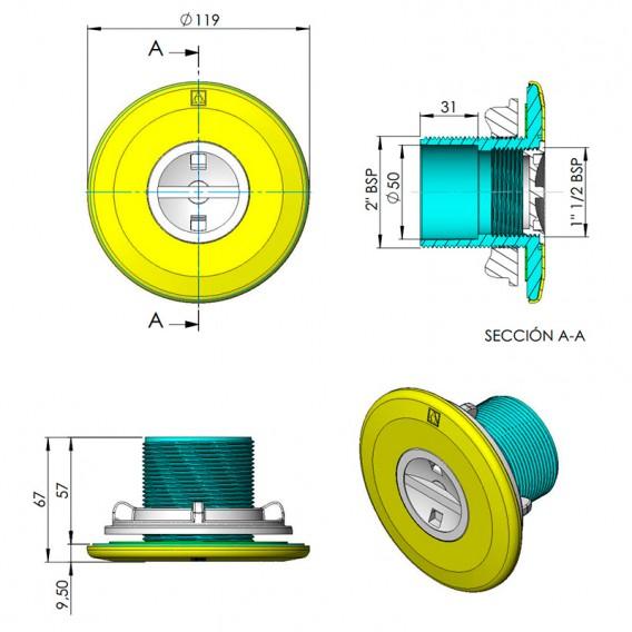Dimensiones boquilla aspiración piscina prefabricada AstralPool
