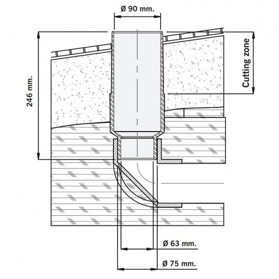 Esquema instalación tubo pasamuros Ø 90 mm AstralPool