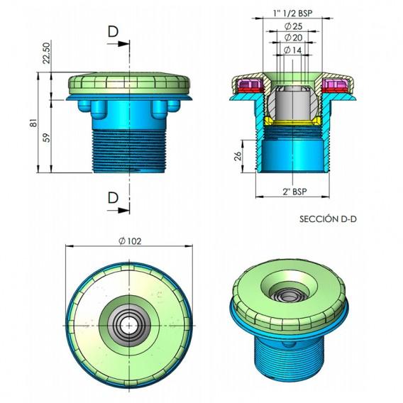Dimensiones boquilla impulsión Multiflow liner Parker AstralPool