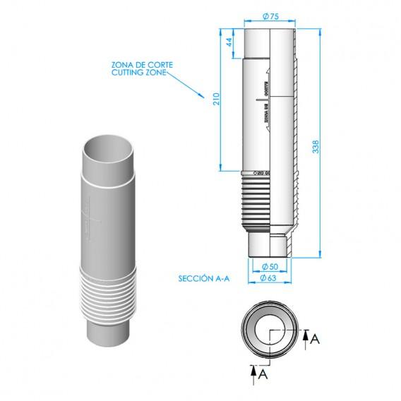 Dimensiones pasamuros boquilla fondo oscilante Net'n'Clean AstralPool