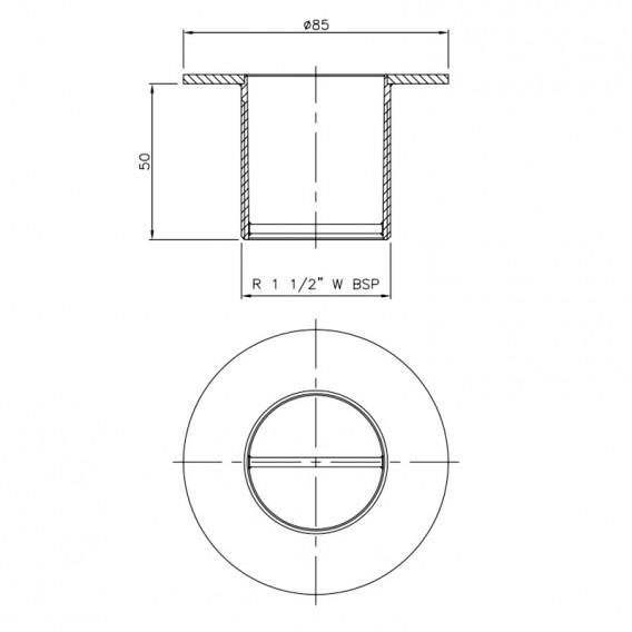 Dimensiones boquilla aspiración inox AstralPool 16328