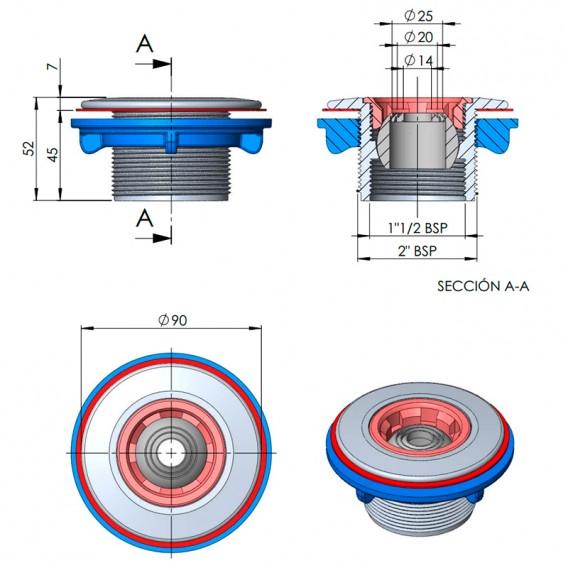 Dimensiones boquilla impulsión Multiflow piscinas prefabricadas AstralPool