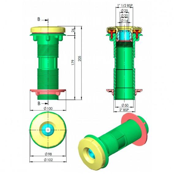 Dimensiones boquilla impulsión Multiflow piscinas de paneles AstralPool