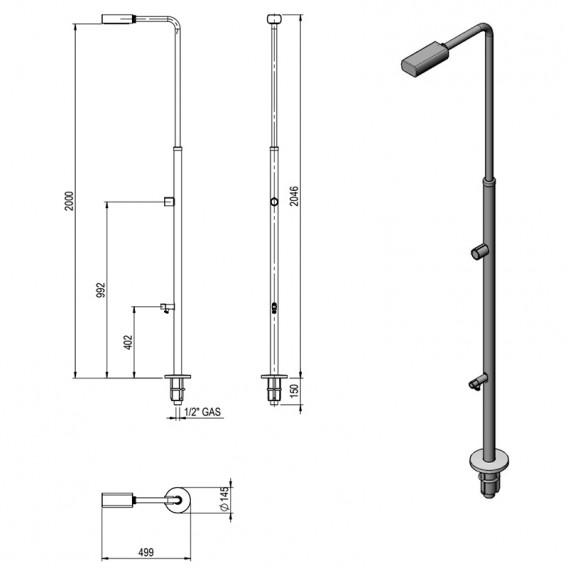 Dimensiones ducha Minimal Gre DAI43F