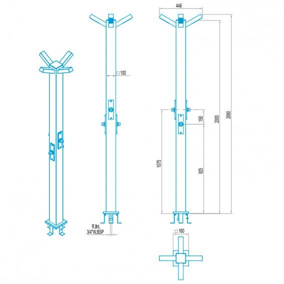 Dimensiones ducha temporizada 4 rociadores AstralPool