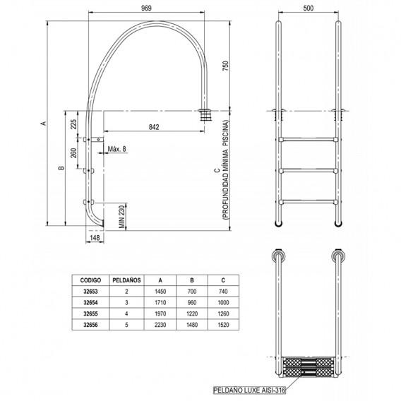 Dimensiones escalera piscina rebosadero AISI-316 AstralPool