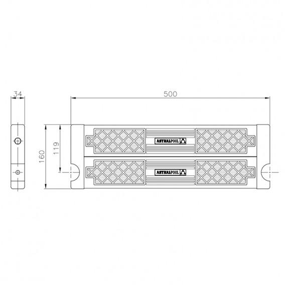 Dimensiones peldaño de seguridad con doble superficie antideslizante