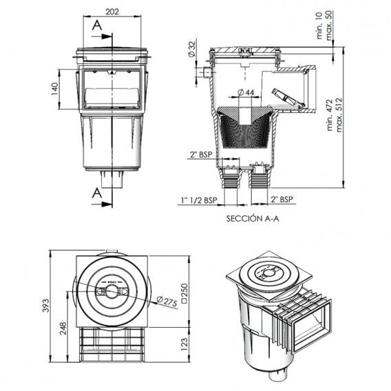 Dimensiones skimmer 17,5 l boca standard tapa cuadrada piscina hormigón AstralPool