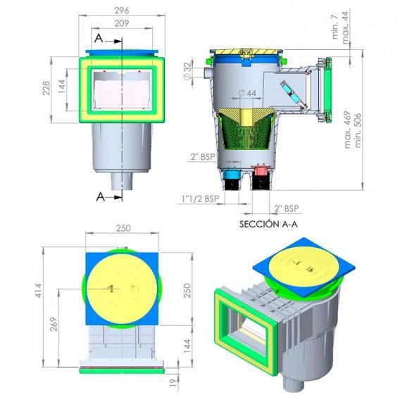 Dimensiones skimmer 17,5 l boca standard tapa cuadrada piscina liner y prefabricada AstralPool