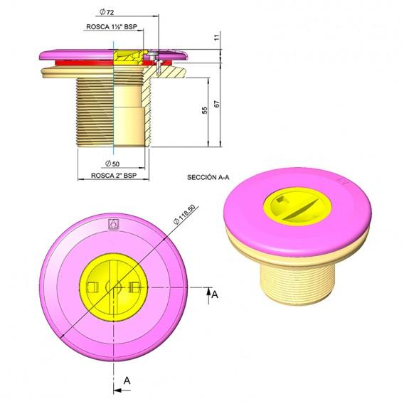 Dimensiones boquilla aspiración piscinas liner AstralPool