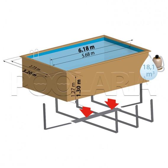 Dimensiones piscina de madera Gre Sunbay Mango KPBRC620
