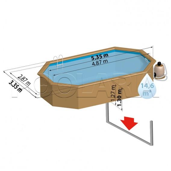 Dimensiones piscina de madera Gre Sunbay Bambu KPBOC535