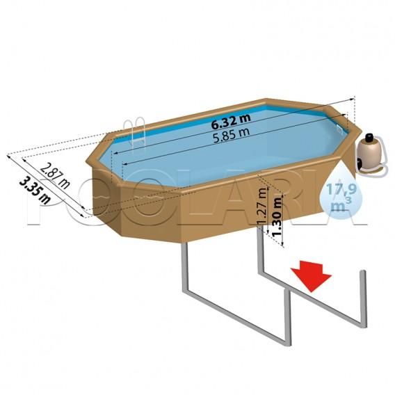 Dimensiones piscina de madera Gre Sunbay Macadamia KPBOC632