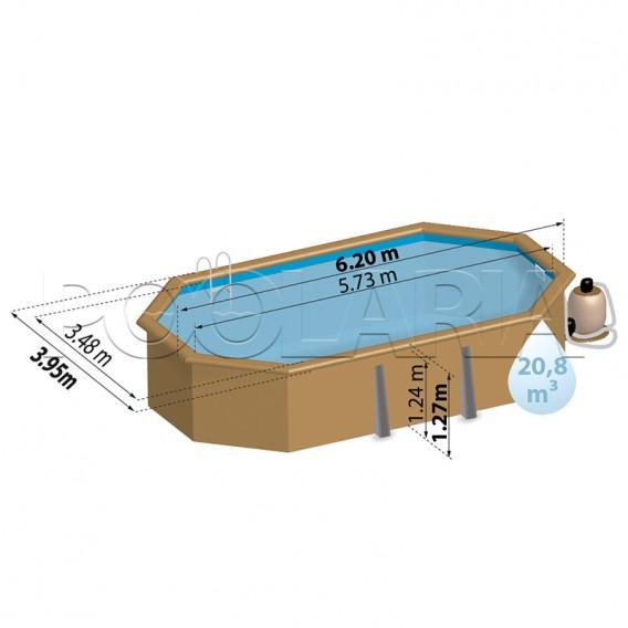 Dimensiones piscina de madera Gre Sunbay Camomille 790202