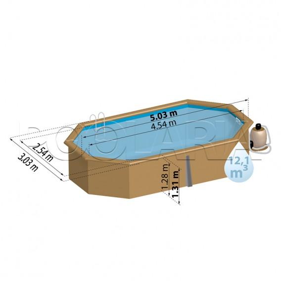 Dimensiones piscina de madera Gre Sunbay Alista 790105