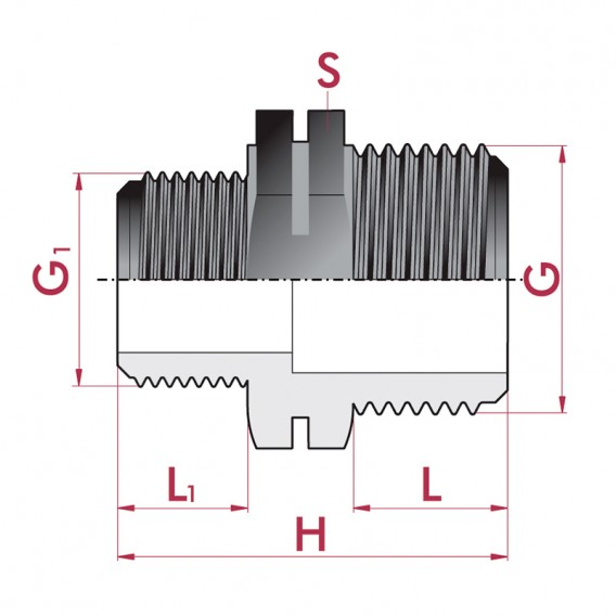 Dimensiones reducción roscada PP macho x macho