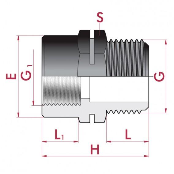 Dimensiones reducción roscada PP macho x hembra