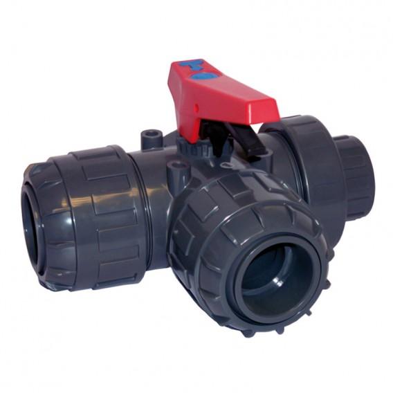 Válvula de bola 3 vías PVC manguitos orientables