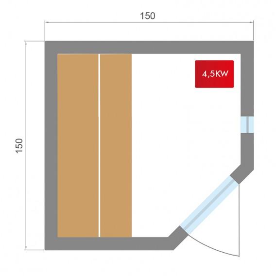 Dimensiones sauna Zen rinconera 3-4 personas