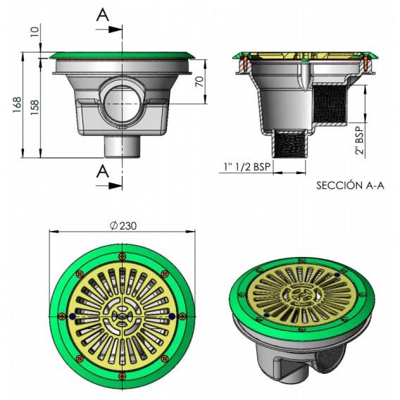 Dimensiones sumidero circular Ø 200 mm rejilla plana liner AstralPool
