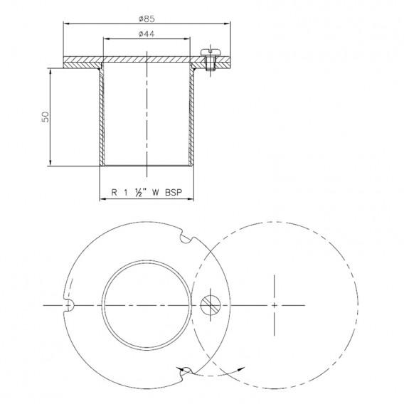Dimensiones boquilla aspiración inox AstralPool 21644