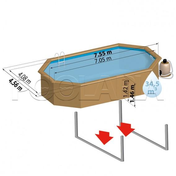 Dimensiones piscina Gre Sunbay Orange 800007