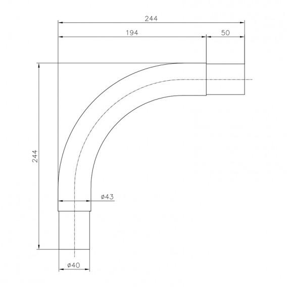 Dimensiones prolongador pasamanos curvo 90º AstralPool