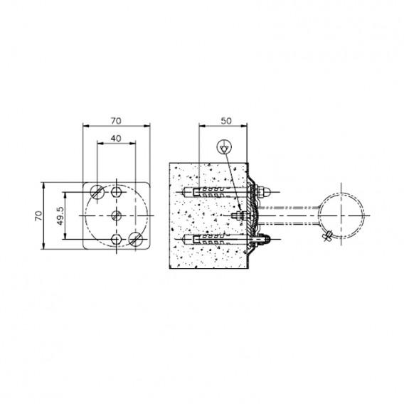 Dimensiones kit adaptación soporte pasamanos liner AstralPool