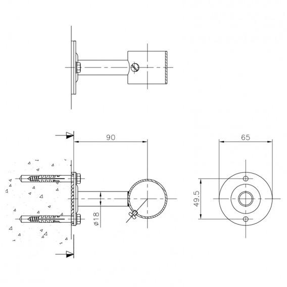 Dimensiones soporte pasamanos recto AstralPool