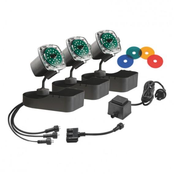 Set 3 focos luz subacuática Sicce Nathur LED Trio para estanques