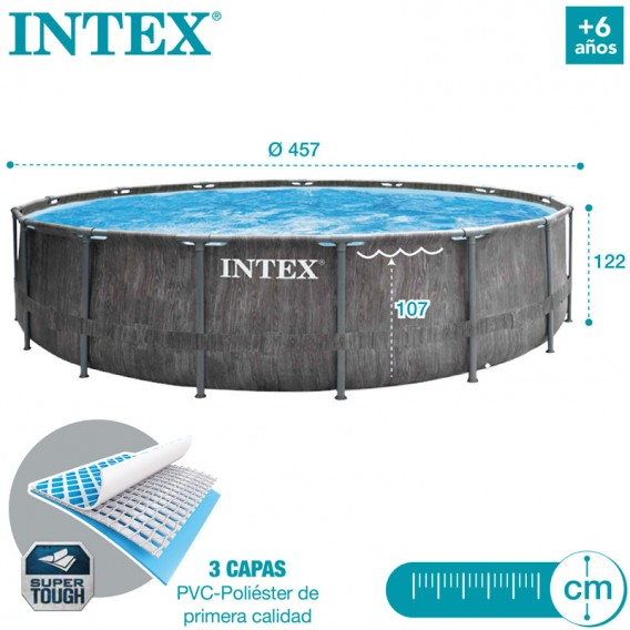 Dimensiones piscina Intex Greywood Prism Frame 26742NP
