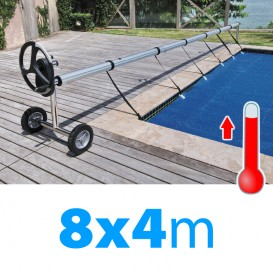 Pack manta térmica verano + enrollador piscinas 8x4 m