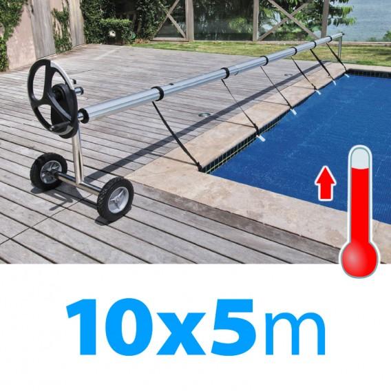 Pack manta térmica verano + enrollador piscinas 10x5 m