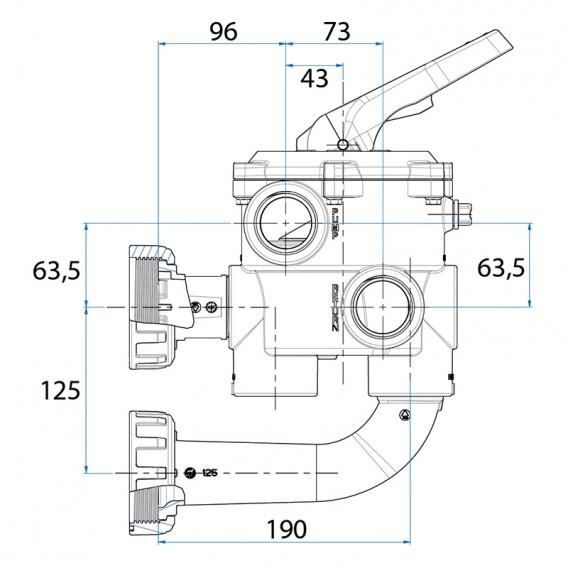 "Dimensiones válvula selectora Classic Plus 1½"" AstralPool"