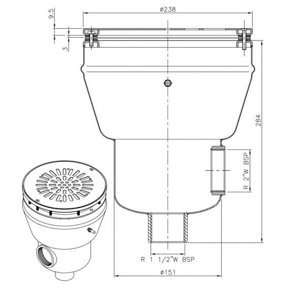 Dimensiones sumidero circular acero inoxidable liner AstralPool 26197