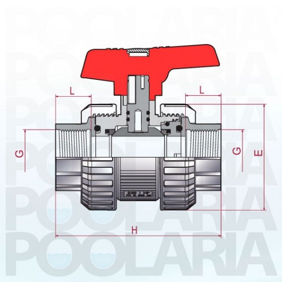 Válvula de bola Cepex [STD] PVC-U Teflón®-EPDM roscar