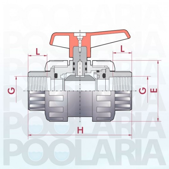 Válvula de bola Cepex Standard PVC Teflón®-FPM roscar