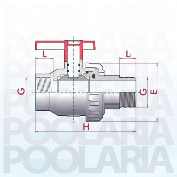 Válvula de bola Uniblock PVC PE-EPDM roscar hembra y roscar macho