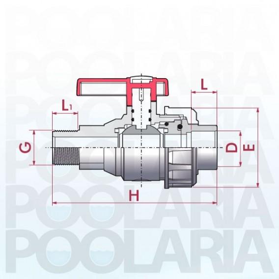 Válvula de bola Uniblock PVC PE-EPDM roscar macho y encolar