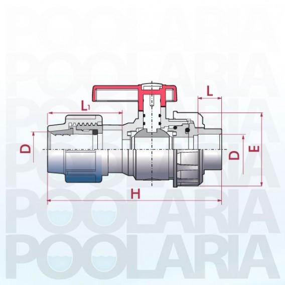Válvula de bola Uniblock PVC PE-EPDM conexión PE y encolar