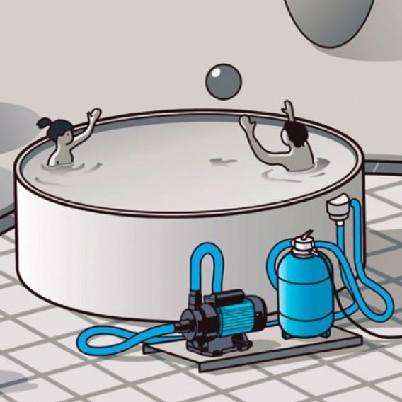 Instalación tipo bomba ESPA NOX 20 4M piscina desmontable