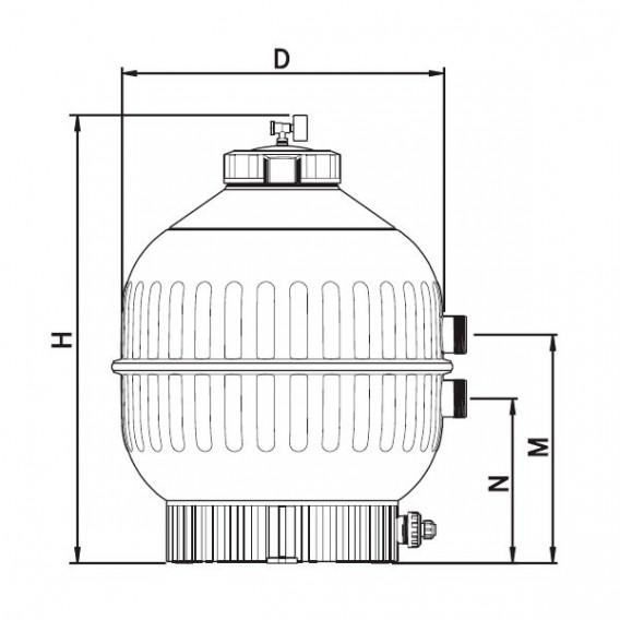 Filtro Cantabric Lateral AstralPool dimensiones