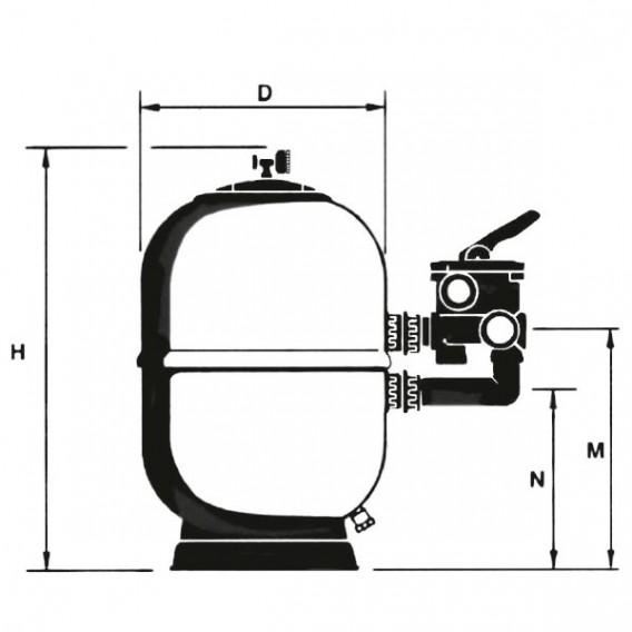 Filtro Aster Lateral AstralPool dimensiones