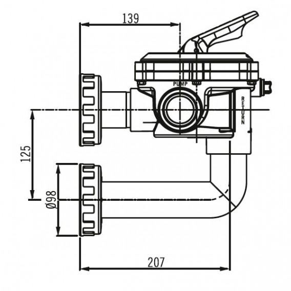 """Válvula selectora Flat Lateral 1½"""" dimensiones"""